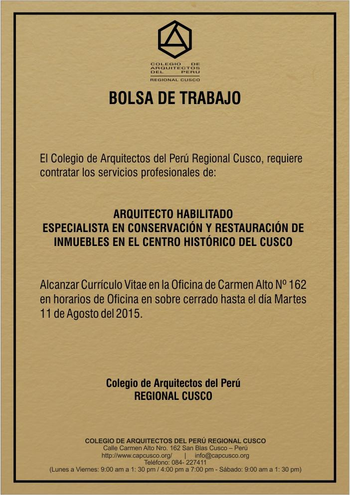 Arquitectos colegio de arquitectos cusco for Bolsa de trabajo arquitecto
